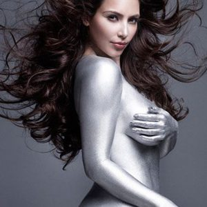 Kim Kardashian dipped in silver pic with her breasts visible