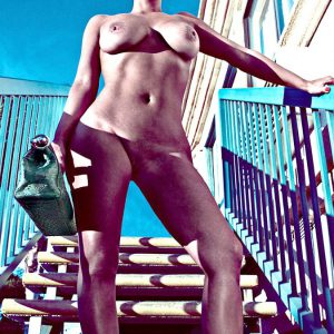 kim naked on stairs for love magazine