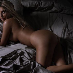 Kim Kardashian in GQ magazine undressed with blonde hair and ass sticking out
