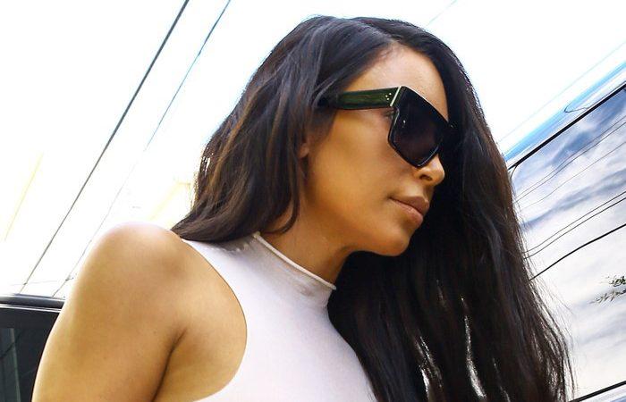 Kim Kardashian nipples visible in sheer top