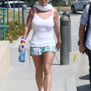 Britney Spears walking in short and tank top showing her braless nipples