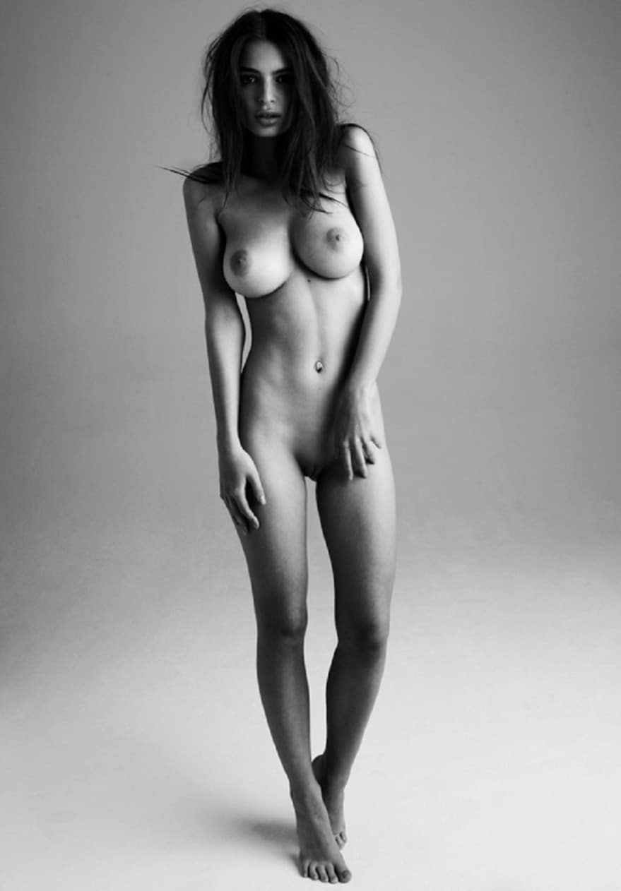 Emily Ratajkowski posing naked for Treats Magazine black and white photo